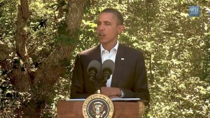 President Obama address press in Martha's Vinyard, MA on Libya