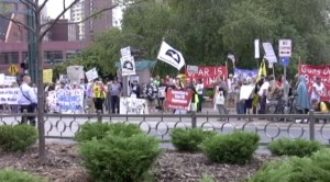 Protesters outside President Obama's speech in Minneapolis