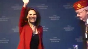 Presidential Candidate Michele Bachmann is greeted at the American Legion Convention in Minneapolis