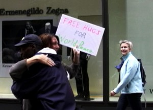 Free Peace Hugs on the Nicollet Mall