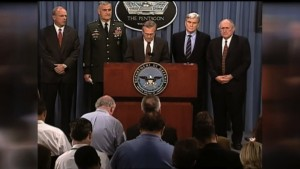Secretary of State Donald Rumsfeld briefs reporters just after the September 11, 2001 attacks