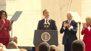 President Obama dedicates Martin Luther King Jr Memorial in Washington, DC.