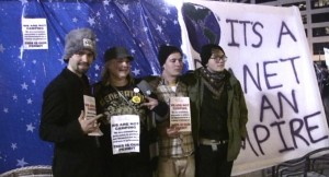 "OccupyMN Organizers display an object that is ""not a tent"""