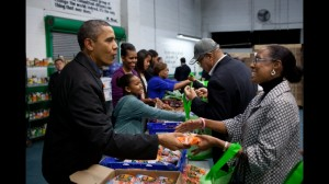 Obamas help out at the DC Food Bank