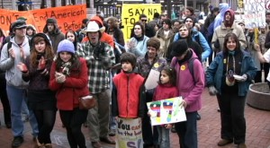 Students march on Minneapolis banks