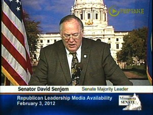 Senate Majority David Senjem faces questions about constitutional amendments