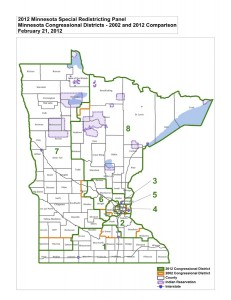 MN Statewide Congressional districts 2002 vs 2012