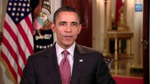 President Obama delivers his weekly address. Topic: gas prices