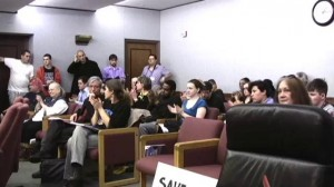Public waits to testify at people's hearing on mortgage foreclosure