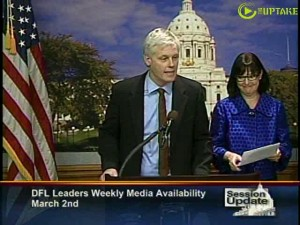 Representative Paul Thissen and Senator Terri Bonoff