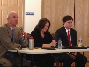 Patrick Ganey, Kathleen Gaylord and Mike Obermueller at a DFL CD2 Candidates Forum