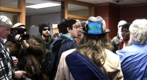 Protestors in Mayor Rybak's office